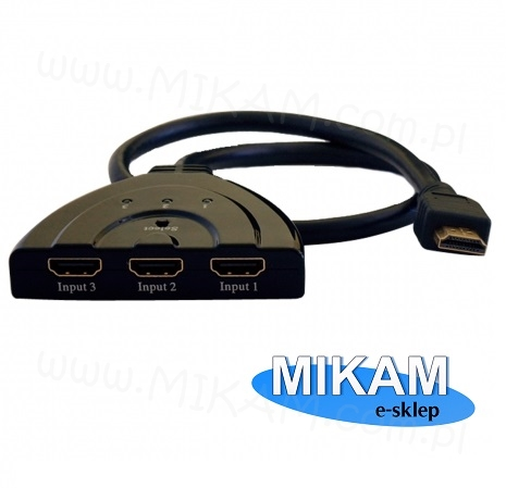 Switch Rozdzielacz HDMI 1/3 AUTO Manual Full HD 3D